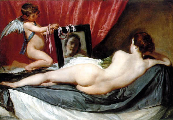 a naked woman, Venus, with her back facing the view, gazes into a mirror displaying her face held by a cherub