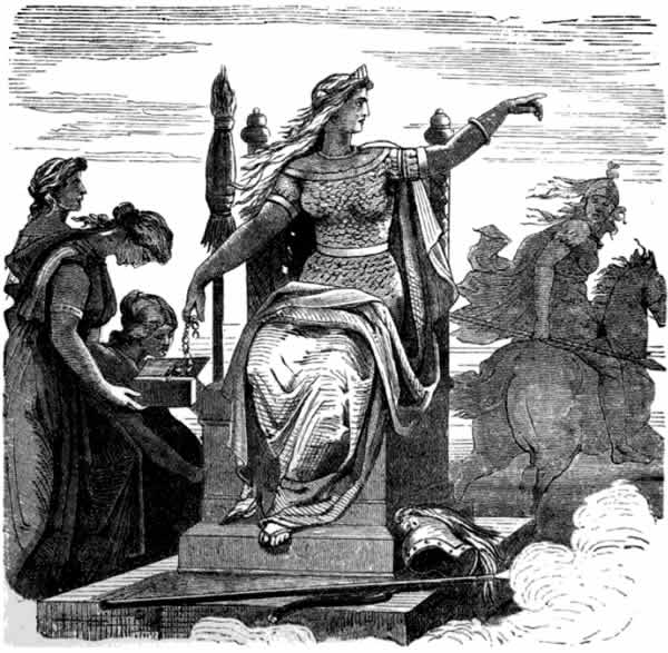 The goddess Frigg, center, points to her left, seemingly commanding Gná, riding her horse Hófvarpnir, to run an errand for her. To Frigg's right is Fulla, who is holding Frigg's eski (an ashen box). Two other females are on Frigg's right, but they are unidentifiable.