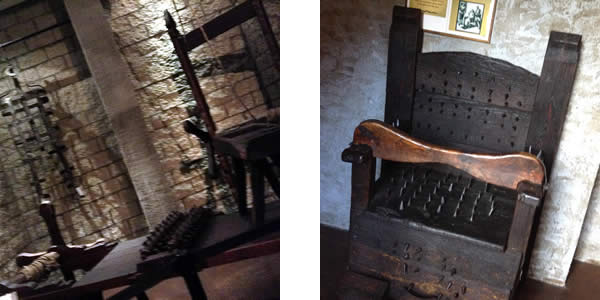 on the left, a torturous rack; on the right, a chair festooned with nails