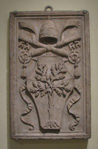 "Arms of Pope Julius II, early 16th century. This ""Papal oak"" was said by Mercurius to be the potential ""world-tree"" and the perch of the alchemist's phoenix. Metropolitan Museum of Art, New York, Rogers Fund, 1918."