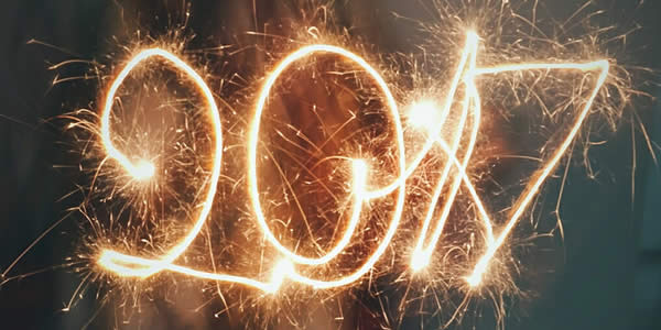 the number 2017 produced by lit sparklers