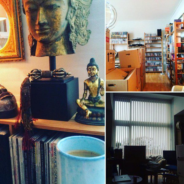 a collage of photographs of the authors apartment, chiefly one of a buddha statue
