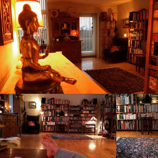 a collage of photographs of the author's apartment detailing her library and a buddha statue