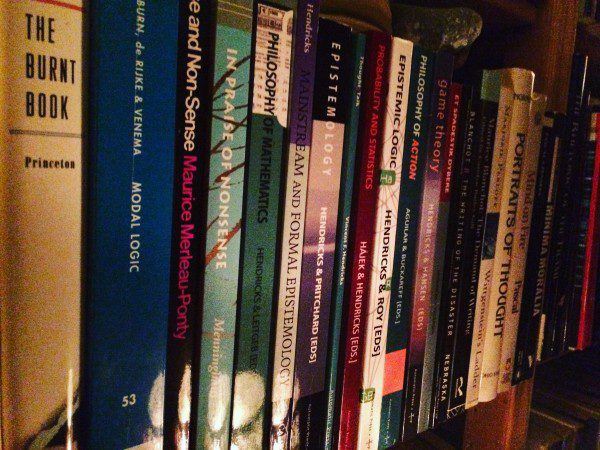 photograph of books in the auhtor's library