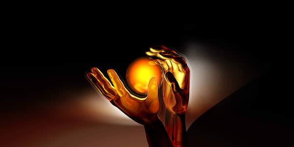 a digital illustration showing someone's hands and a glowing orb between them