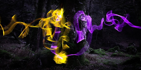 a digially manipulated photo of a black-and-white tree trunk with swirls of irridescent yellow and purple smoke surrounding and spreading away from it