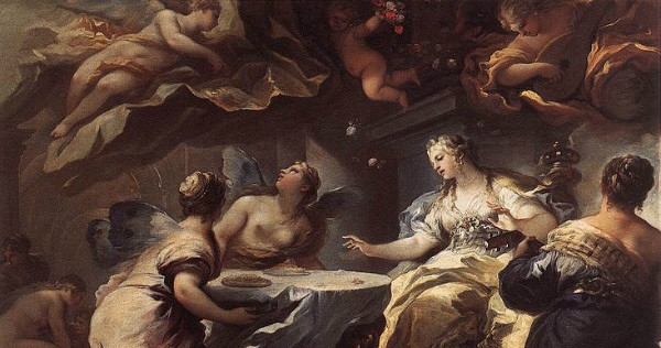 """Psyche Served by Invisible Spirits"" by Luca Giordano.  From WikiMedia."