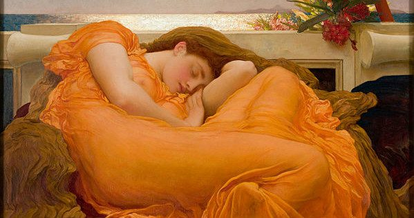 """Flaming June"" by Frederic Lord Leighton.  From WikiMedia."