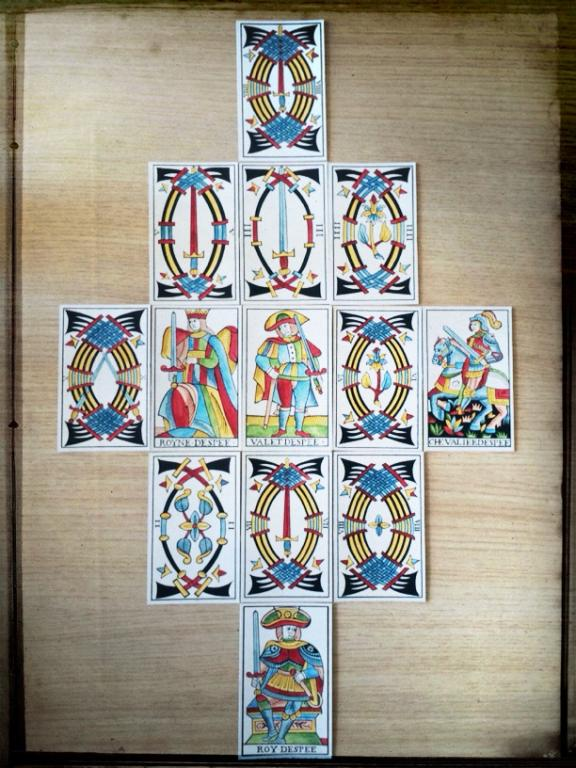 Marseille Tarot by Jean Noblet, 1650, reconstructed by Jean Claude Flornoy and hand-painted by Edmund Zebrowsky (my photo).