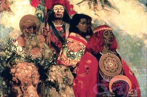 """""""Druids Bringing in the Mistletoe"""" by Edward Atkinson Hornel.  From WikiMedia."""
