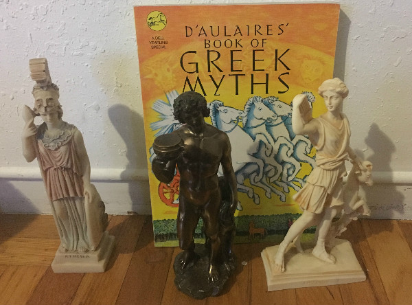 Oh the legacy of D'Aulaires'! (From left to right: Athena, Dionysus, and Artemis)