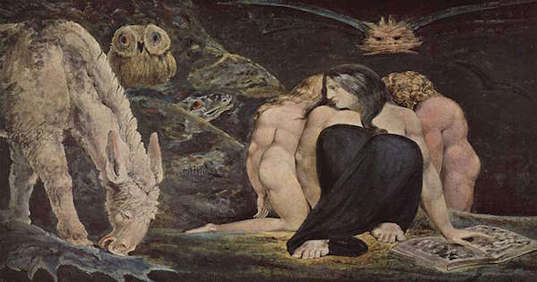 """""""The Night of Enitharmon's Joy""""  (Triple Hecate) by William Blake.  From WikiMedia."""