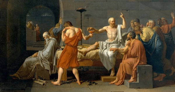 """The Death of Socrates, ""by Jacques-Louis David.  From WikiMedia."
