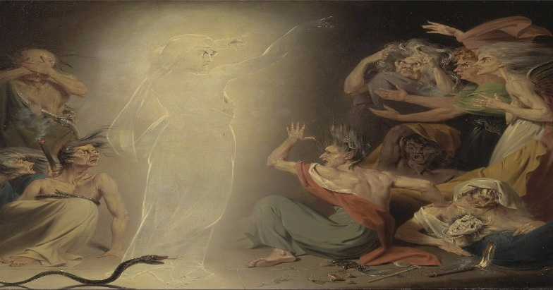 """The Ghost of Clytemnestra Awakening the Furies"" by John Downman.  From WikiMedia."