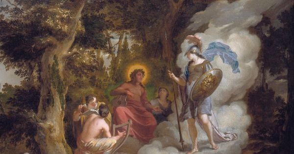 """Pallas Athene Visiting Apollo on the Parnassus"" by Arnold Houbraken (detail).  From WikiMedia."