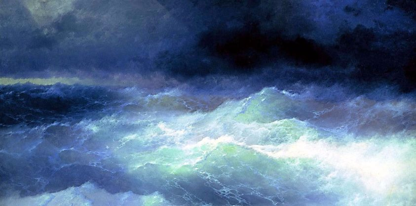 """Among the Waves"" by Ivan Aivazovsky.  From WikiMedia."