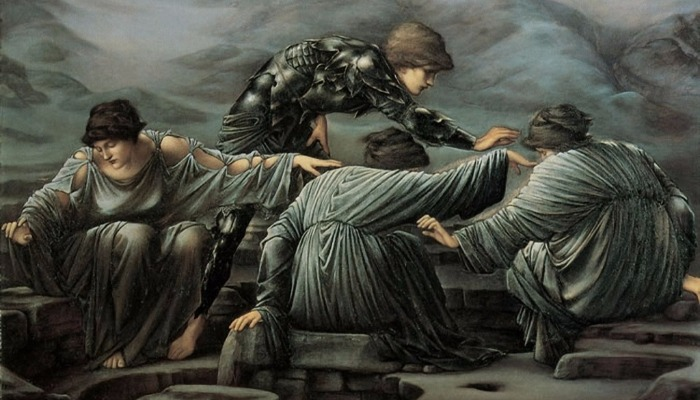 """Perseus and the Graiae"" by  Edward Burne-Jones.  From WikiMedia."