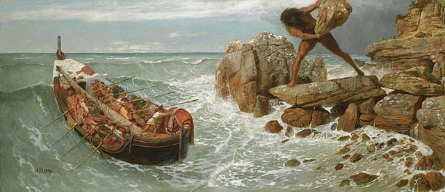 """Odysseus and Polyphemus"" by Arnold Böcklin.  From WikiMedia."