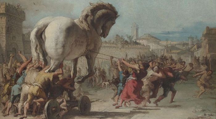 """The Procession of the Trojan Horse in Troy"" by Giovanni Domenico Tiepolo.  From WikiMedia."