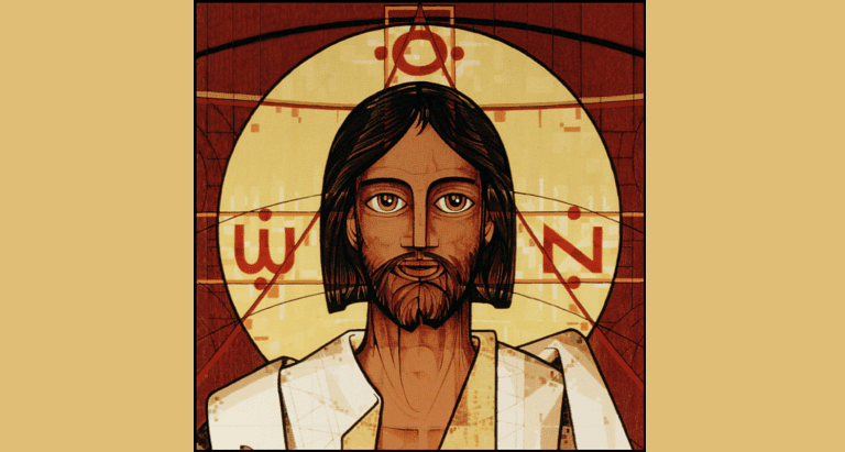 """Do not be afraid. Peace be with you. Receive the Holy Spirit."" This image is a detail of Christ's head from the Prince of Peace icon at Prince of Peace Abbey."