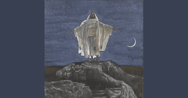 Jesus goes alone up a mountain to pray in quiet, deep, solitary glory.