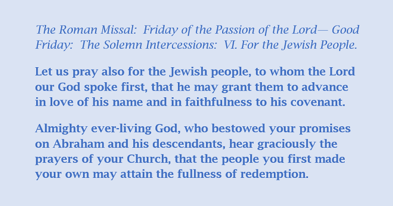 Let us pray also for the Jewish people