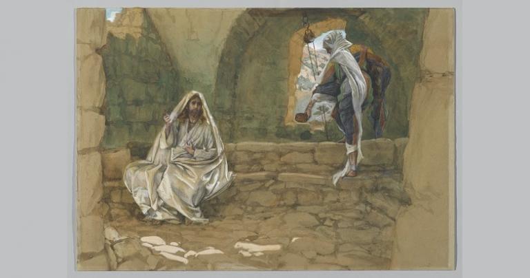 Having met Jesus, she now carries eternal life instead of a water jar.