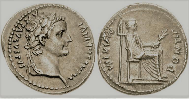 The denarius in the reign of Tiberius Caesar Augustus.