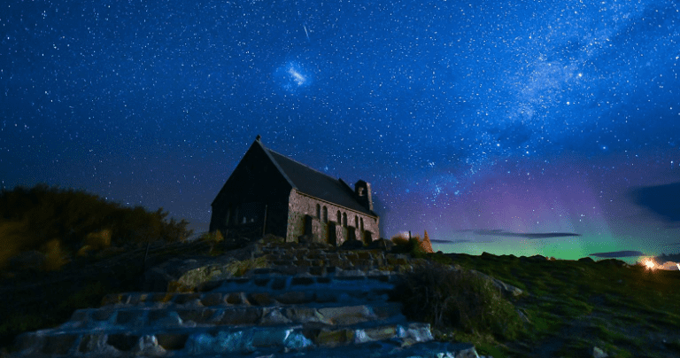 A New Zealand church at night during an appearance of the southern lights or aurora australis.