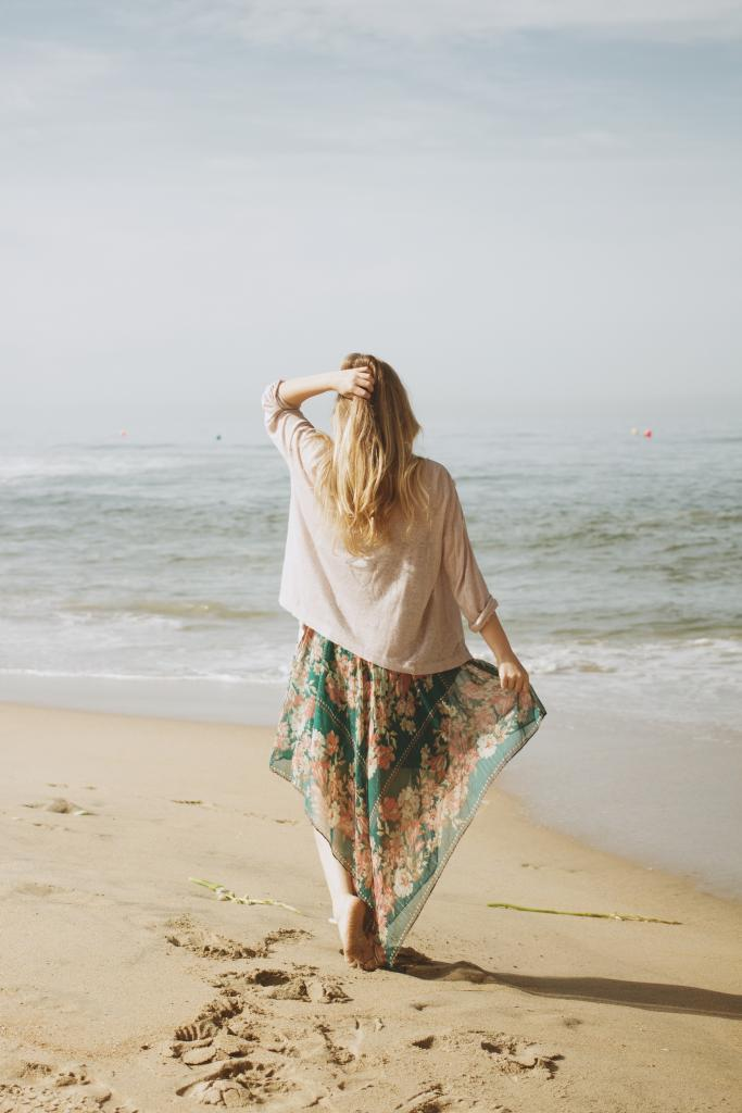 Women at beach in dress