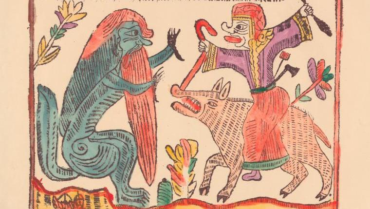 Woodblock image of Baba Yaga