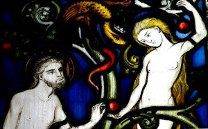 Stained glass Adam and Eve