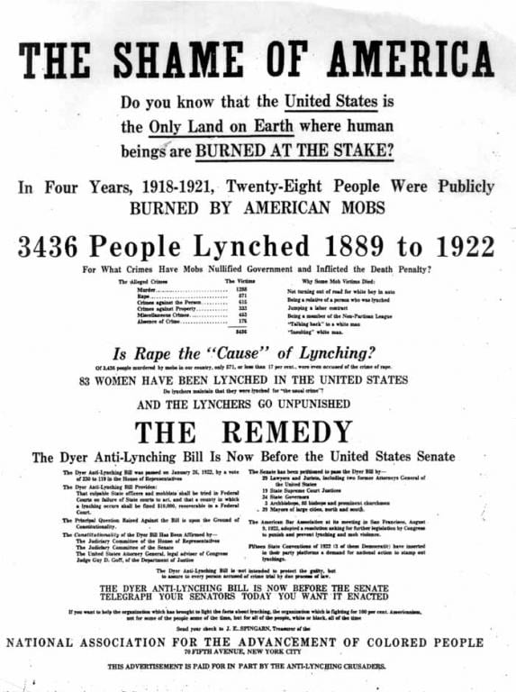 "Advertisement with the headline ""The Shame of America"""