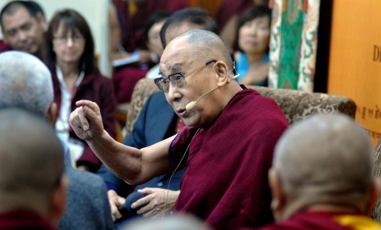 The Dalai Lama talking to scientists