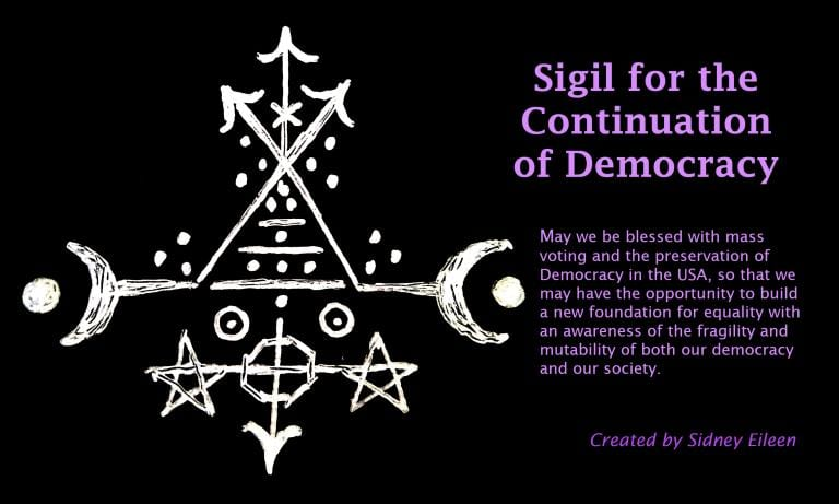 Sigil for the Continuation of Democracy, with an incantation. Image by Author.