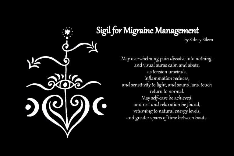 Sigil and Incantation for Migraine Management. Image by Sidney Eileen.