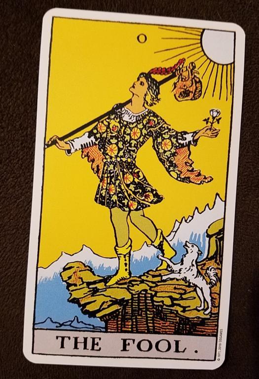 The Fool tarot card, from the Smith-Waite Tarot Deck, photo by author.
