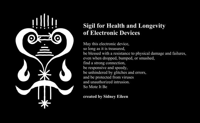 Sigil for health and longevity of electronic devices, and accompanying incantation. Image by Sidney Eileen.