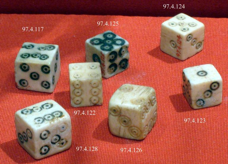 "Some pretty Roman dice. <a href=""https://commons.wikimedia.org/wiki/File:Dice_MET_chr97.4.117.jpg"">Metropolitan Museum of Art</a>, CC0, via Wikimedia Commons"