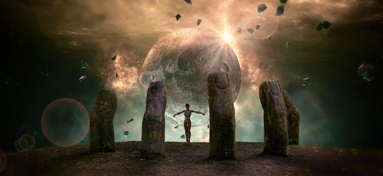 A feminine figure stands in the palm of a great stone hand, gazing into the universe. Know thyself.