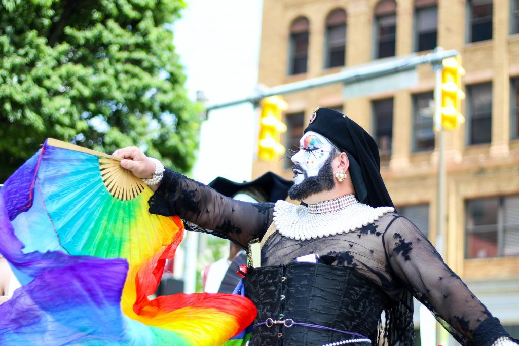 A member of the Sisters of Perpetual Indulgence displaying their Pride in full garb. Photo by Rosemary Ketchum from Pexels