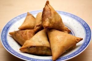 feasting in Ramadan with samosas, or samboosek