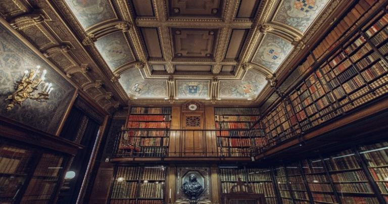 A grand library.