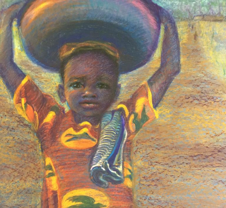 African girl carrying a bowl on her head.