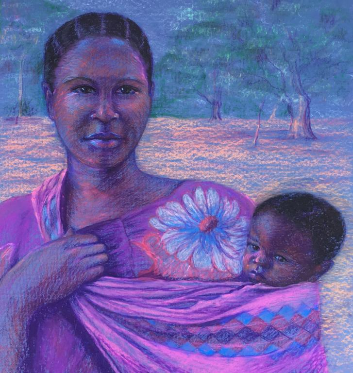 African mother with baby