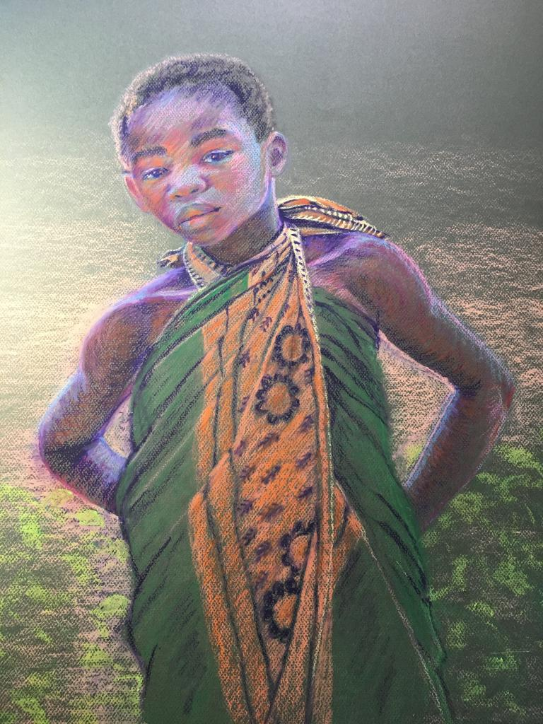 pastel of an African child