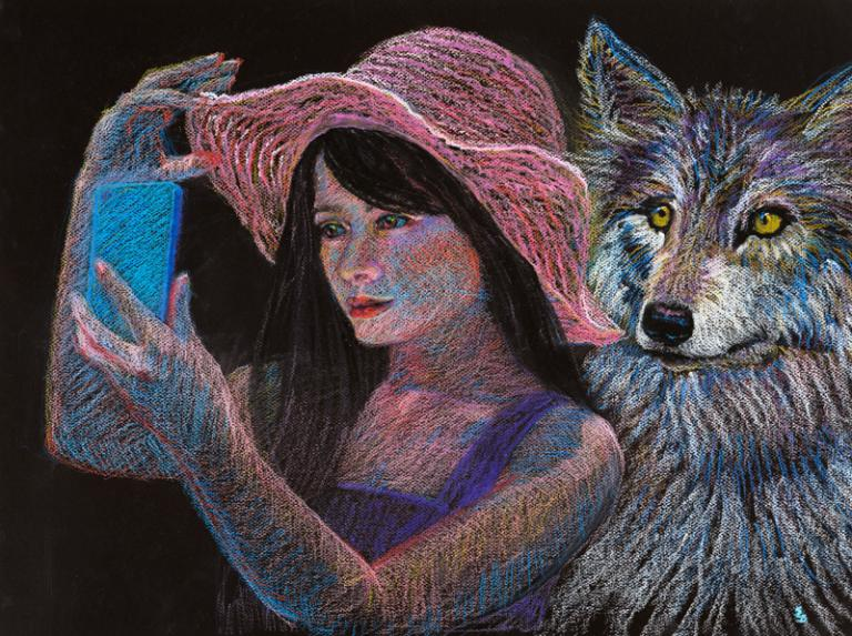 A wolf popping up behind a woman taking a selfie.