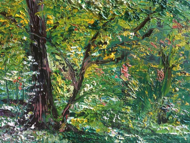 painting of trees and and flowers