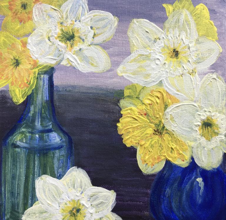 daffodils in vases