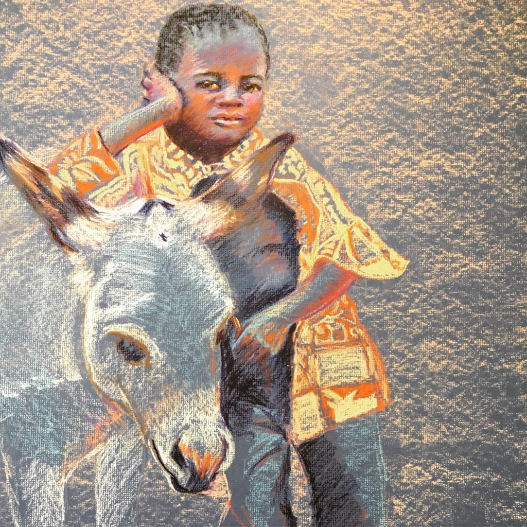 Boy and his donkey in process